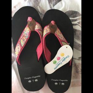 Douglas Paquette Shoes - NAT Douglas Paquette Wedged Flip Flops 7